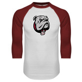 White/Cardinal Raglan Baseball T Shirt-Bulldog Head