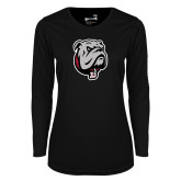 Ladies Syntrel Performance Black Longsleeve Shirt-Bulldog Head
