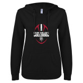 ENZA Ladies Black V Notch Raw Edge Fleece Hoodie-Football Ball Design