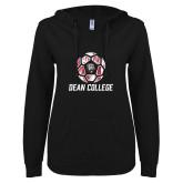 ENZA Ladies Black V Notch Raw Edge Fleece Hoodie-Distressed Soccer Design