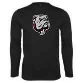 Performance Black Longsleeve Shirt-Bulldog Head