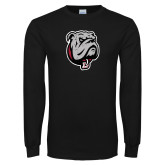 Black Long Sleeve T Shirt-Bulldog Head Distressed