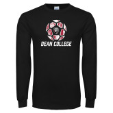 Black Long Sleeve T Shirt-Distressed Soccer Design