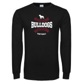 Black Long Sleeve T Shirt-Softball Seams Design
