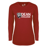 Ladies Syntrel Performance Cardinal Longsleeve Shirt-Dean College w/ Bulldog Head