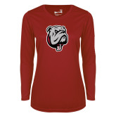 Ladies Syntrel Performance Cardinal Longsleeve Shirt-Bulldog Head