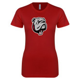 Next Level Ladies SoftStyle Junior Fitted Cardinal Tee-Bulldog Head