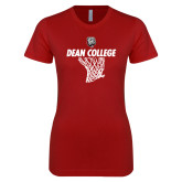 Next Level Ladies SoftStyle Junior Fitted Cardinal Tee-Basketball Net Design