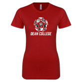 Next Level Ladies SoftStyle Junior Fitted Cardinal Tee-Distressed Soccer Design