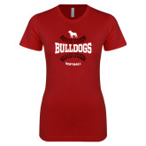 Next Level Ladies SoftStyle Junior Fitted Cardinal Tee-Softball Seams Design