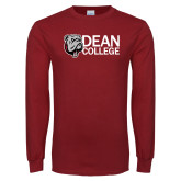 Cardinal Long Sleeve T Shirt-Dean College w/ Bulldog Head