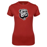 Ladies Syntrel Performance Cardinal Tee-Bulldog Head