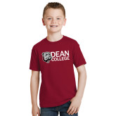 Youth Cardinal T Shirt-Dean College w/ Bulldog Head