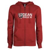 ENZA Ladies Cardinal Fleece Full Zip Hoodie-Dean College w/ Bulldog Head