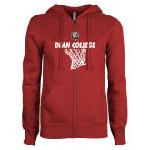 ENZA Ladies Cardinal Fleece Full Zip Hoodie-Basketball Net Design