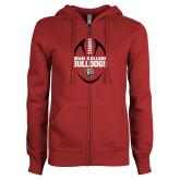 ENZA Ladies Cardinal Fleece Full Zip Hoodie-Football Ball Design