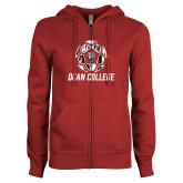 ENZA Ladies Cardinal Fleece Full Zip Hoodie-Distressed Soccer Design
