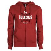 ENZA Ladies Cardinal Fleece Full Zip Hoodie-Softball Seams Design