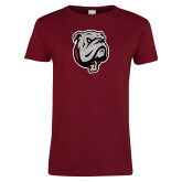 Ladies Cardinal T Shirt-Bulldog Head Distressed
