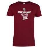Ladies Cardinal T Shirt-Basketball Net Design