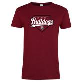 Ladies Cardinal T Shirt-Baseball Plate Design