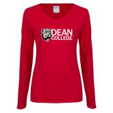 Ladies Cardinal Long Sleeve V Neck Tee-Dean College w/ Bulldog Head