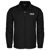 Full Zip Black Wind Jacket-Dean College w/ Bulldog Head