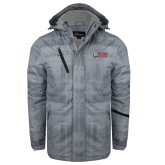 Grey Brushstroke Print Insulated Jacket-Dean College w/ Bulldog Head