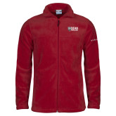 Columbia Full Zip Cardinal Fleece Jacket-Dean College w/ Bulldog Head