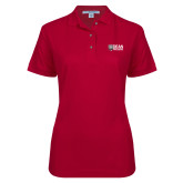 Ladies Easycare Cardinal Pique Polo-Dean College w/ Bulldog Head