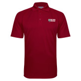 Cardinal Textured Saddle Shoulder Polo-Dean College w/ Bulldog Head