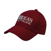 Cardinal Heavyweight Twill Pro Style Hat-Dean College w/ Bulldog Head