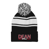Black/White Two Tone Knit Pom Beanie w/Cuff-Softball