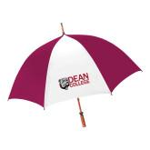 62 Inch Cardinal/White Umbrella-Dean College w/ Bulldog Head