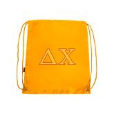 Nylon Gold Drawstring Backpack-Greek Letters