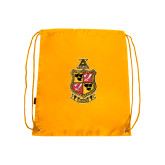 Gold Drawstring Backpack-Contemporary Coat Of Arms