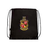 Black Drawstring Backpack-Contemporary Coat Of Arms