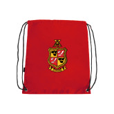 Red Drawstring Backpack-Contemporary Coat Of Arms
