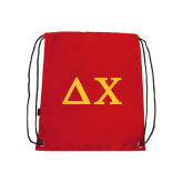 Red Drawstring Backpack-Solid Greek Letters