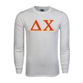 White Long Sleeve T Shirt-Greek Letters