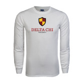 White Long Sleeve T Shirt-Delta Chi Fraternity W/ Shield Stacked