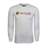White Long Sleeve T Shirt-Delta Chi Fraternity W/ Shield Flat