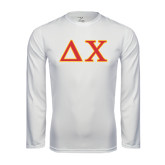 Performance White Longsleeve Shirt-Greek Letters