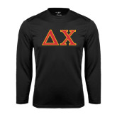 Performance Black Longsleeve Shirt-Greek Letters