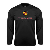 Performance Black Longsleeve Shirt-Delta Chi Fraternity W/ Shield Stacked