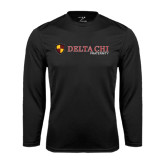 Performance Black Longsleeve Shirt-Delta Chi Fraternity W/ Shield Flat