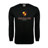Black Long Sleeve TShirt-Delta Chi Fraternity W/ Shield Stacked