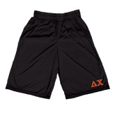 Russell Performance Black 10 Inch Short w/Pockets-Greek Letters