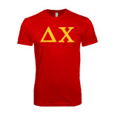 Next Level SoftStyle Red T Shirt-Solid Greek Letters