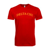 Next Level SoftStyle Red T Shirt-Arched Delta Chi